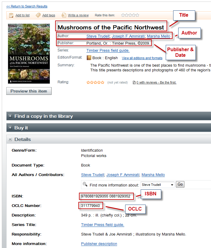 "This image shows the results page for the book ""Mushrooms of the Pacific Northwest"" it highlights the title, author, and date"