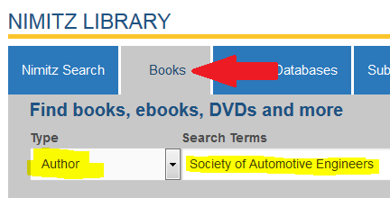 screenshot of author search for SAE