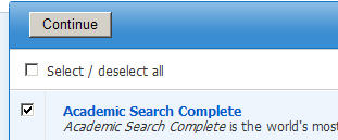 Screenshot of EBSCOhost menu showing checkbox to select/deselect all EBSCO databases