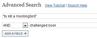 """Screenshot of JSTOR advanced search boxes with """"to kill a mockingbird"""" in the first box and challenged book in the second"""