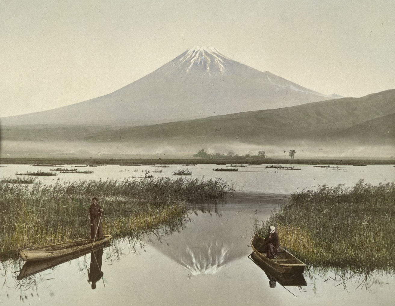 Tinted photograph of Mount Fuji