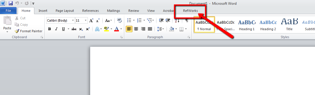 Highlighting the RefWorks tab in Microsoft Word