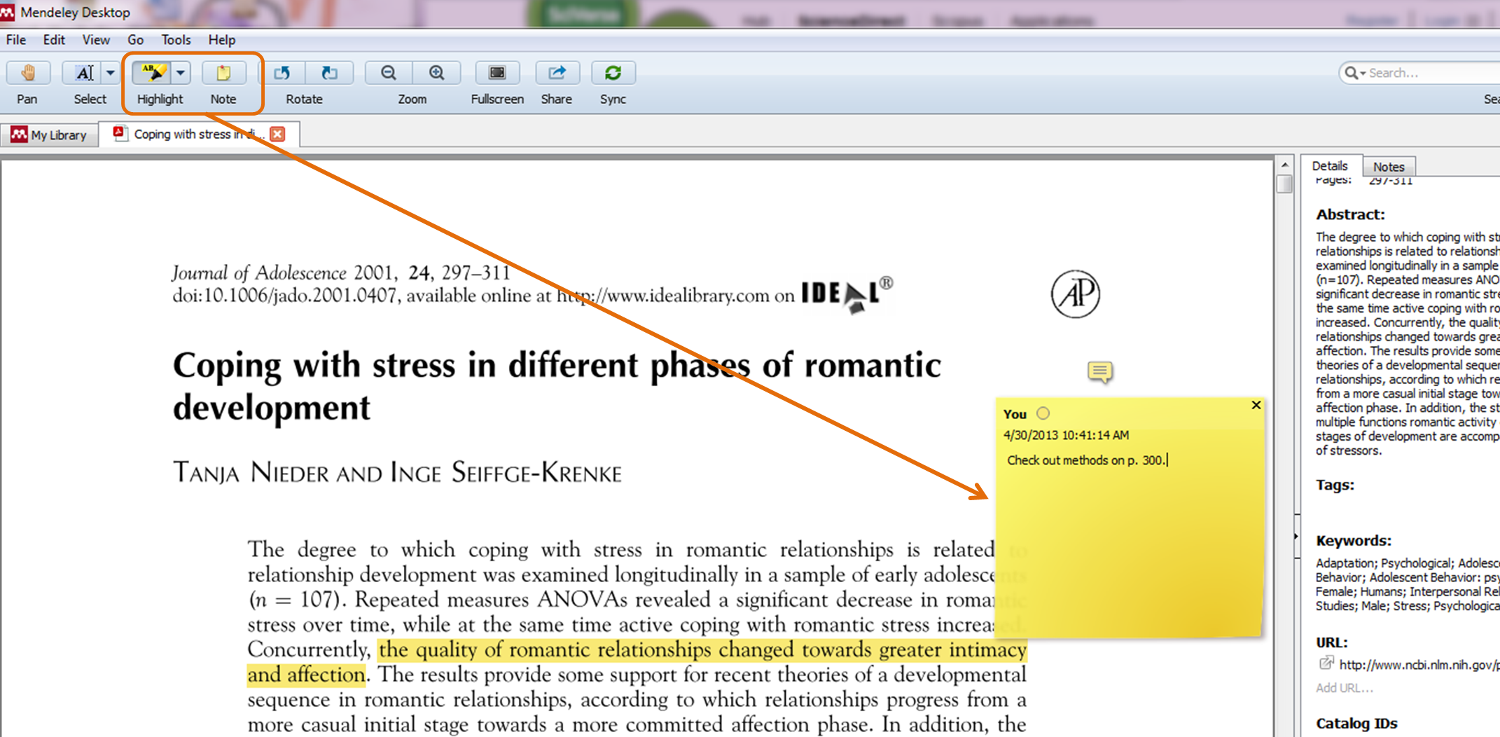 Take notes and highlight PDFs within your Mendeley library