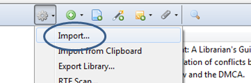 image of Zotero menu to use when importing to another citation manager like EndNote