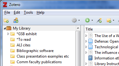 image from a Zotero program showing collections and saved citations