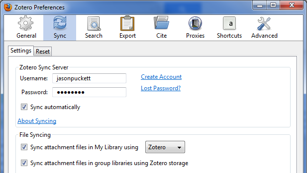 Zotero preferences screen under Sync menu. Shows where to type in username and password.