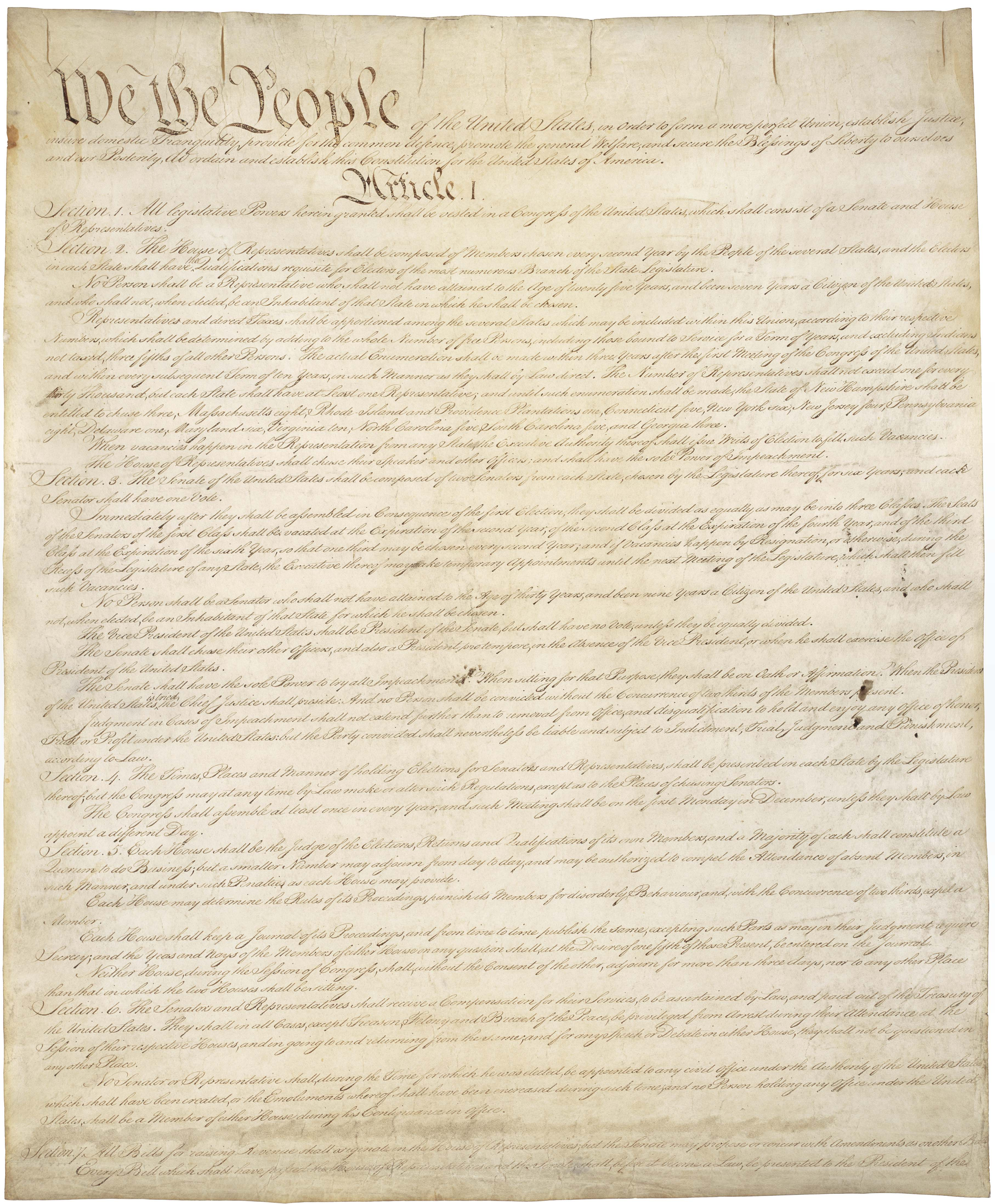 US Constitution from the National Archives