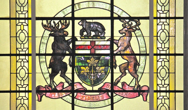 Stained Glass Window with Ontario Coat of Arms