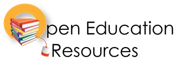 open educational resources - book stack with plug