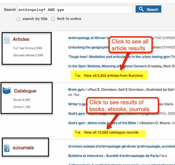 Search results' categories - articles, catalogue, ejournals