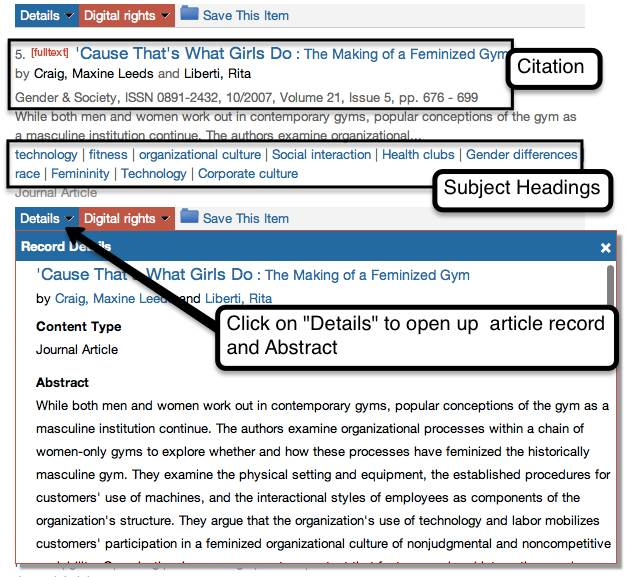 article record from search results highlighting article citation, subject headings and Details tab