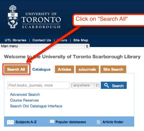 screenshot of UTSC library catalogue with Search All Tab highlighted