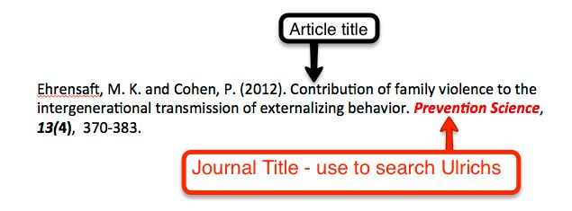 Citation with Journal title highlighted