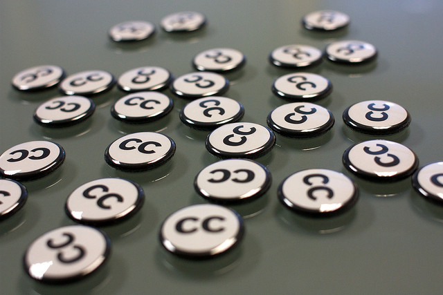 Buttons with the letters CC