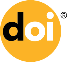 A logo for the DOI system which shows a yellow circle with lettering in black and white.