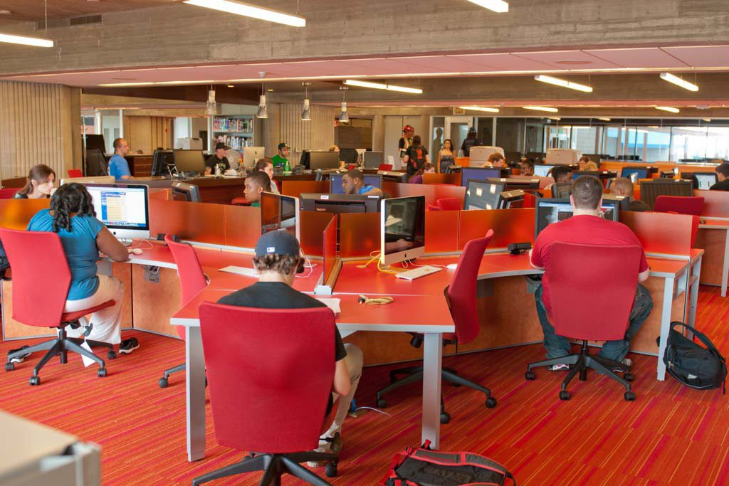 View of the Learning Commons filled with students working