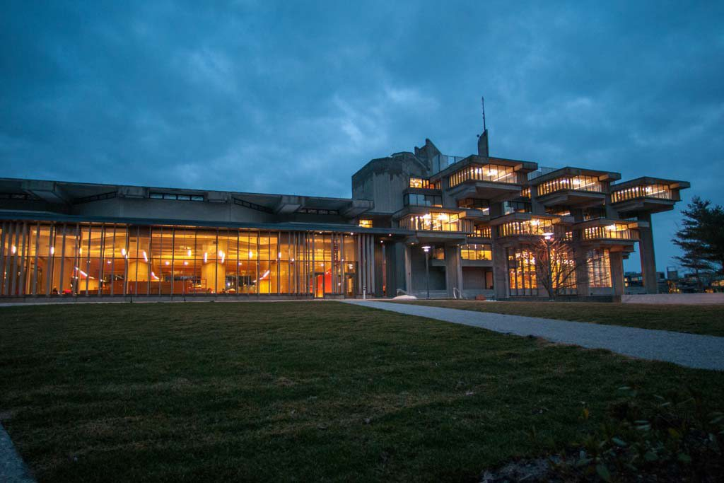 Picture of the Claire T. Carney Library at dusk