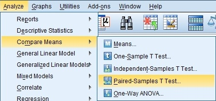 Click Analyze > Compare Means > Paired-Samples T Test.