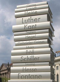 Modern Book Printing sculpture on the Berlin Walk of Ideas