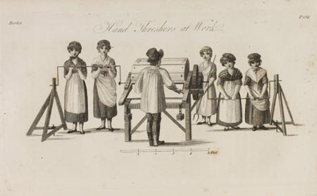 Engraving of hand threshers at work