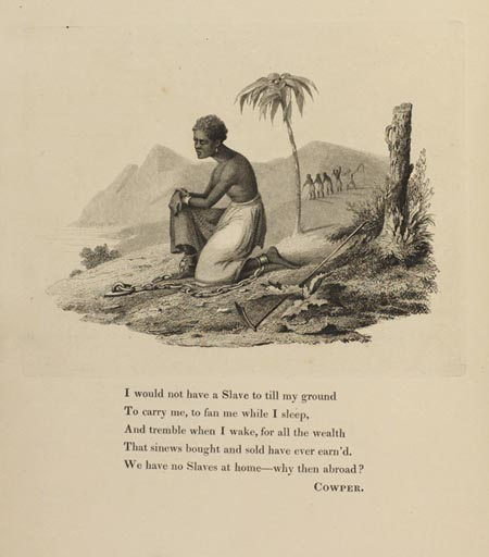 Engraving os slave, with poem.