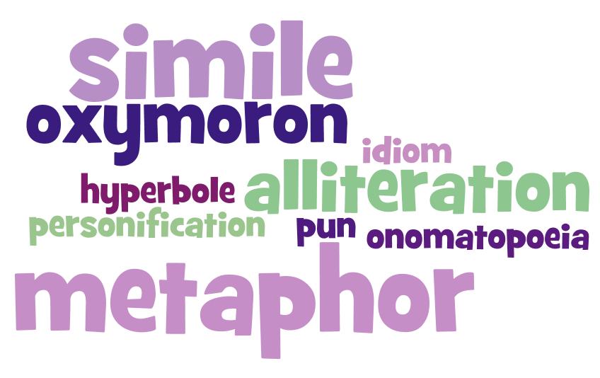 simile, oxymoron, idiom, hyperbole, alliteration, pun, onomatopoeia, metaphor
