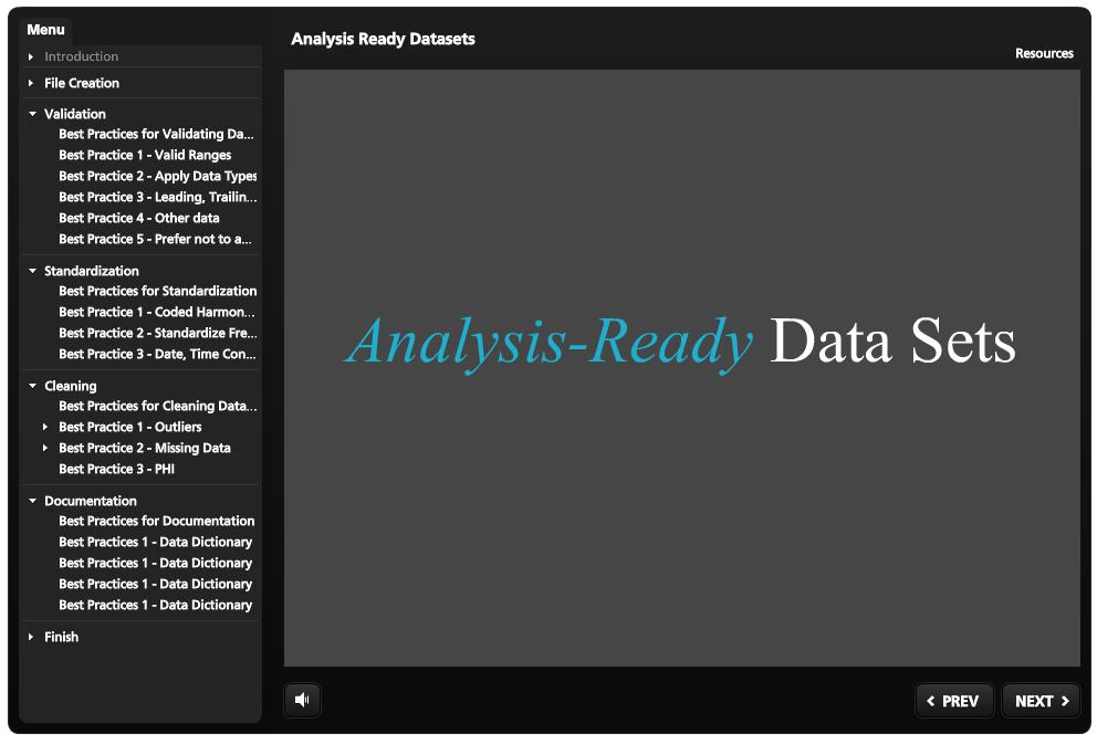Analysis ready datasets tutorial screen shot
