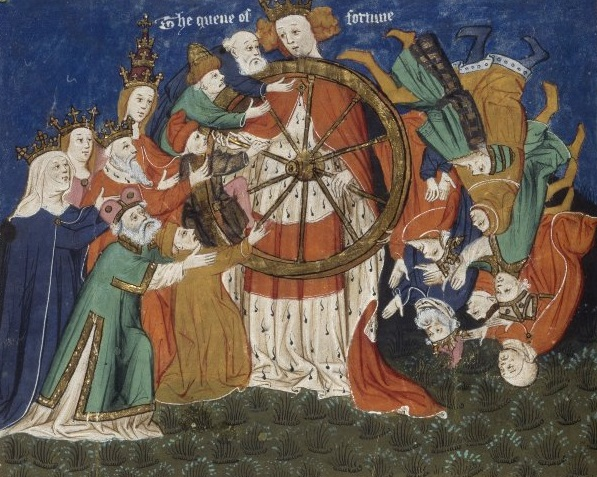 Wheel of Fortune - detail from Lydgate's Siege of Troy, English MS 1