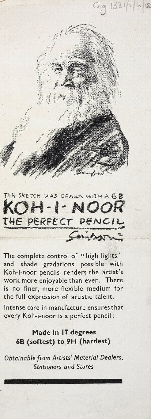 Image of Walt Whitman used to advertise the 'Koh-I-Noor' pencil, Sixsmith Whitman collections, Eng MS 1331/1/6/18