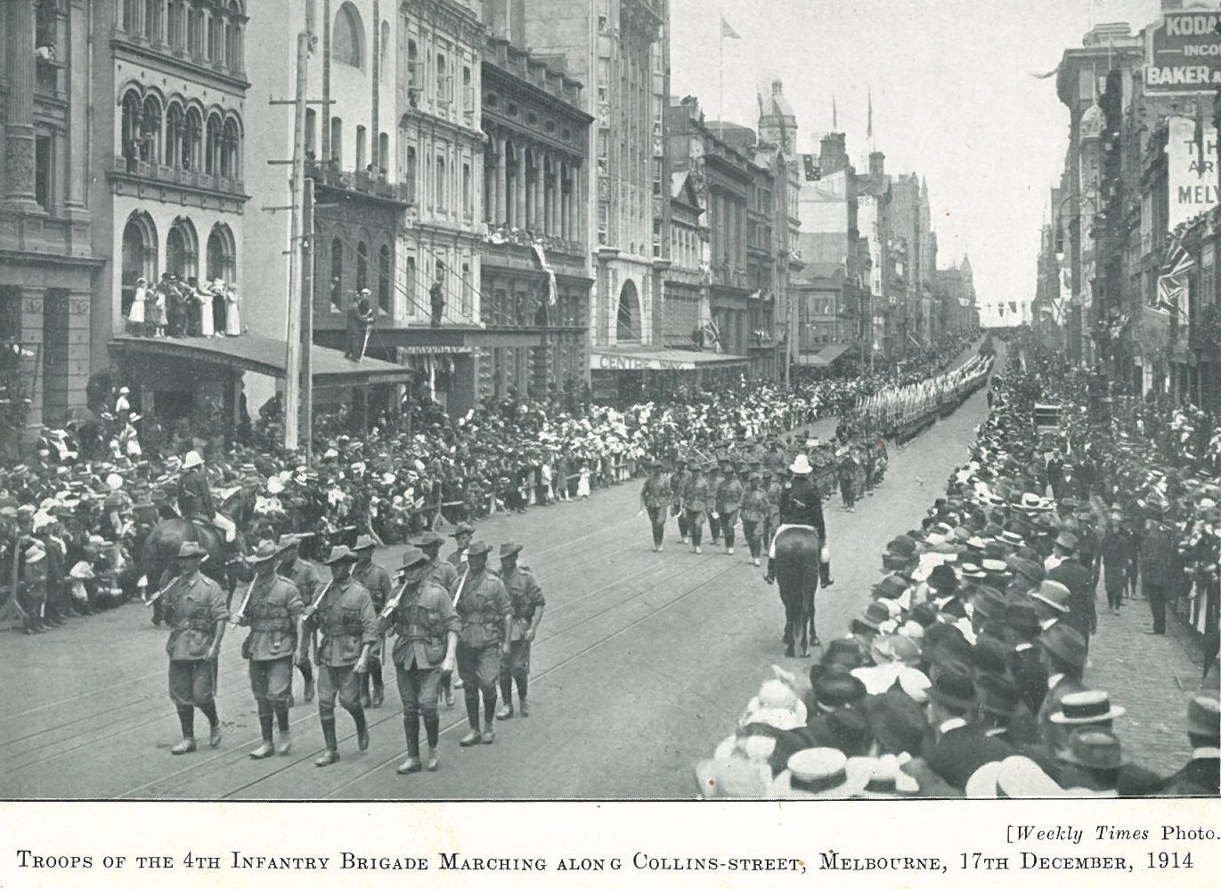 Trooops of the 4th Infantry Brigade march in Collins Street, Melbourne, 17 December 1914. Weekly times photo.