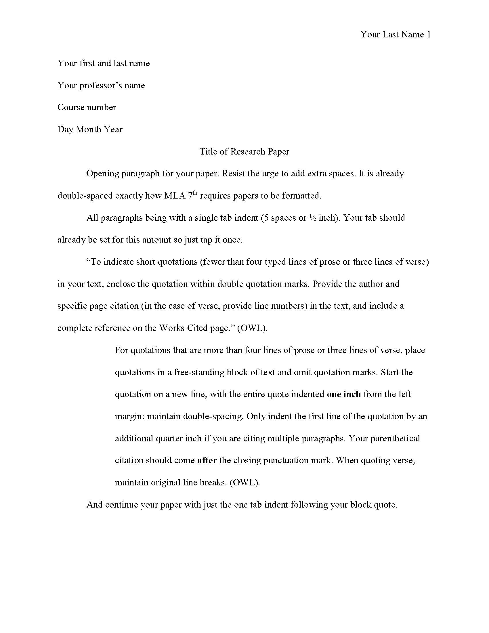 MLA Paper example