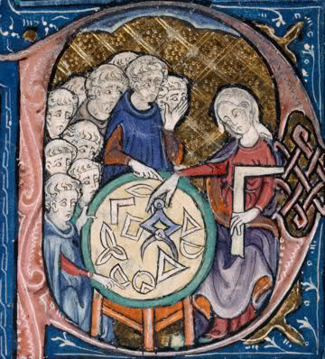 14th century woman showing geometric shapes to a group of men