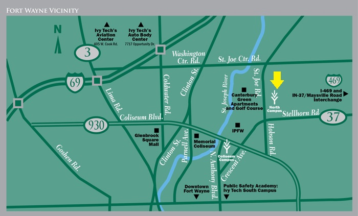 Map of Ivy Tech Fort Wayne Locations