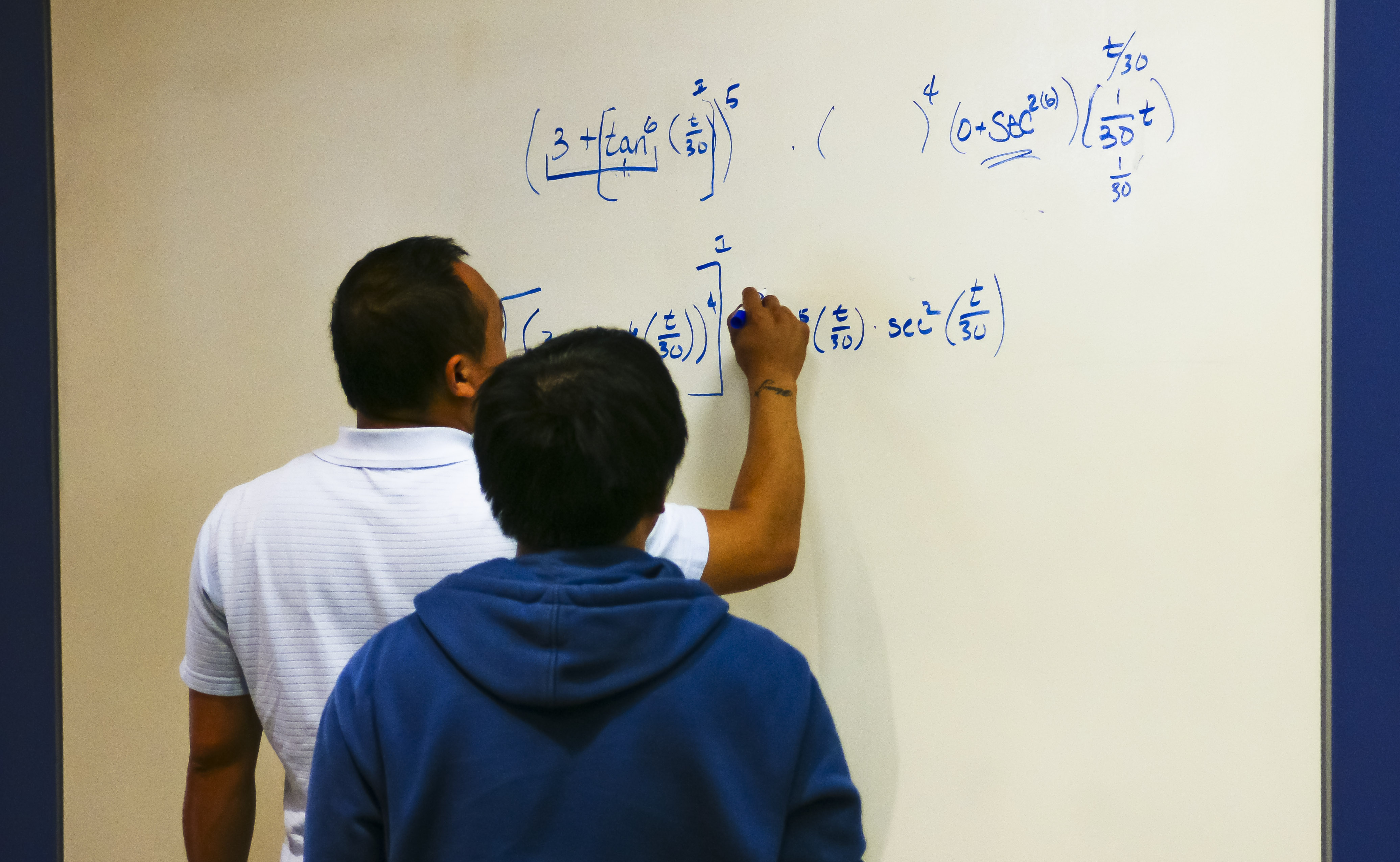 students working in the math area