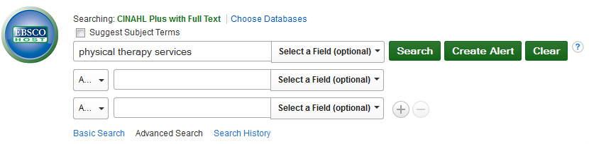 screenshot of EBSCO Host search page