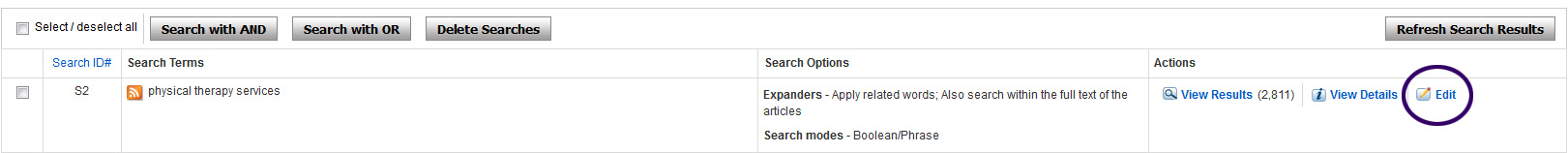 screenshot of EBSCO Host search history menu