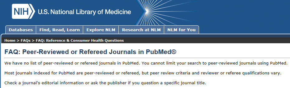 peer reviewed and refereed journals FAQ on NIH website