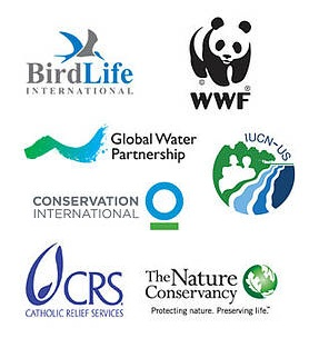 Logos for a number of NGOs: BirdLife International, WWF, Global Water Partnership, IUCN-US, Conservation International, Catholic Relief Services, and The Nature Conservancy.