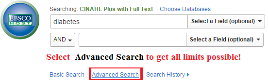 cinahl search box allows you to add terms