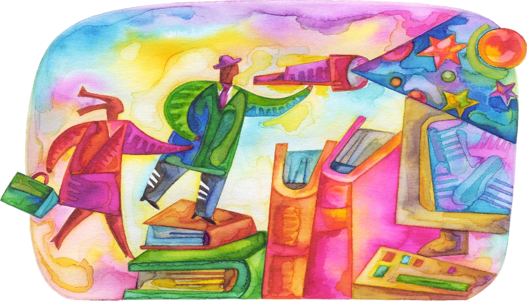 Man and Woman on Books with Spyglass