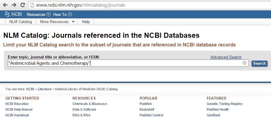 NLM catalog search bar