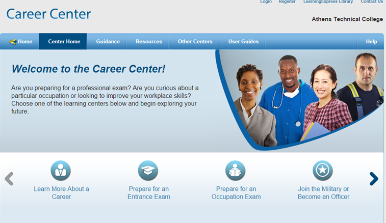 Screen shot of Learning Express Career Center