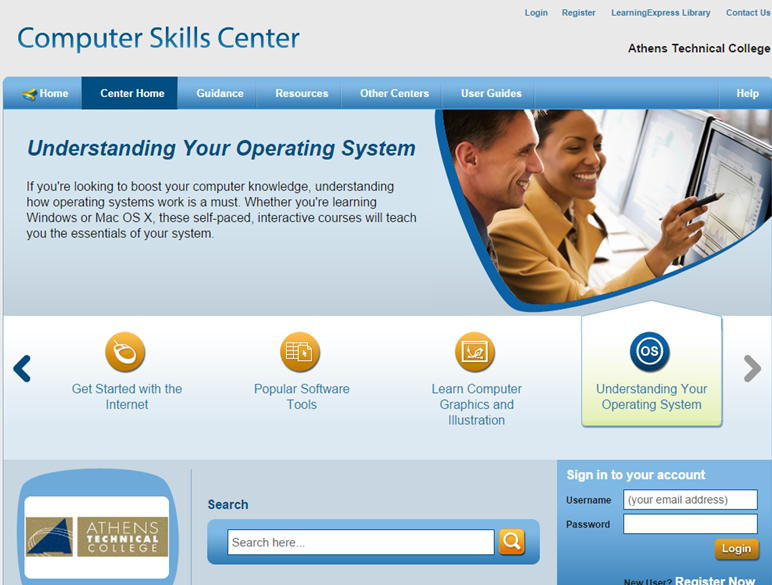 Screen shot of Learning Express Computer Skills Center