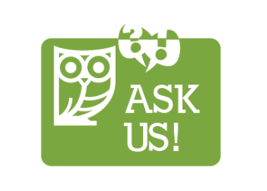 """Ask us"" graphic"