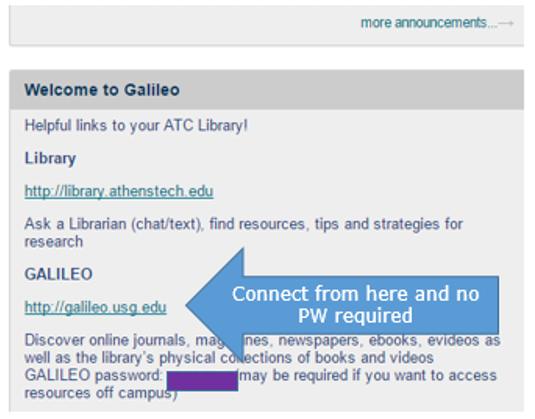 Blackboard screen shot showing GALILEO password