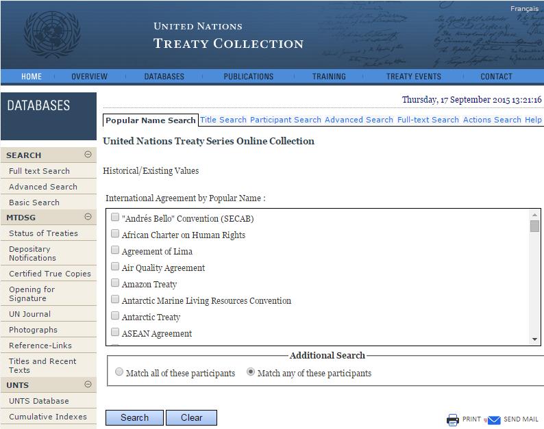 United Nations Treaty Database