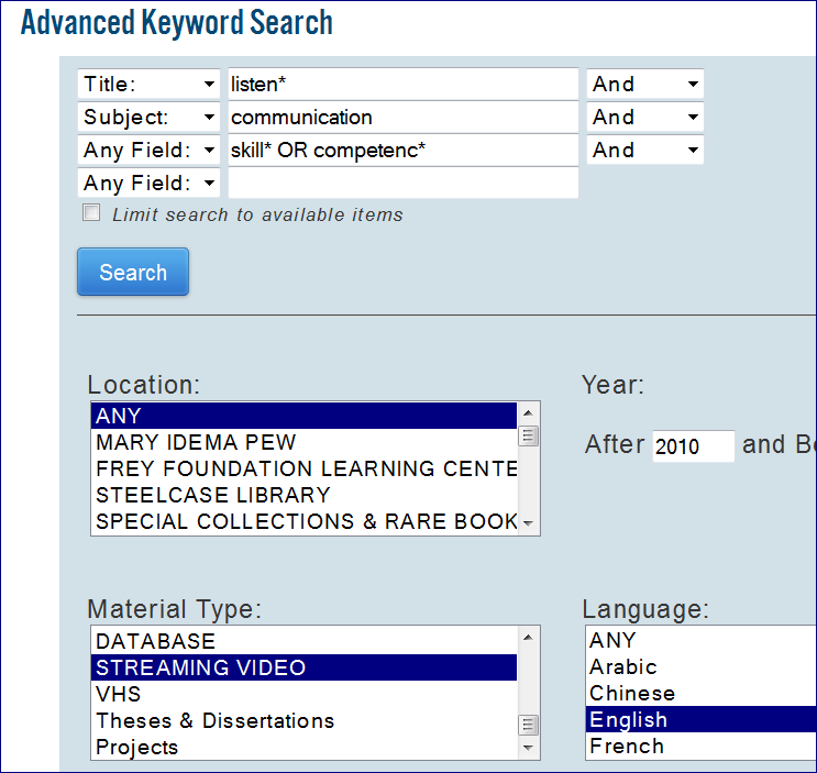 A screenshot of the Advanced Search with title, subject, location, and material type highlighted.