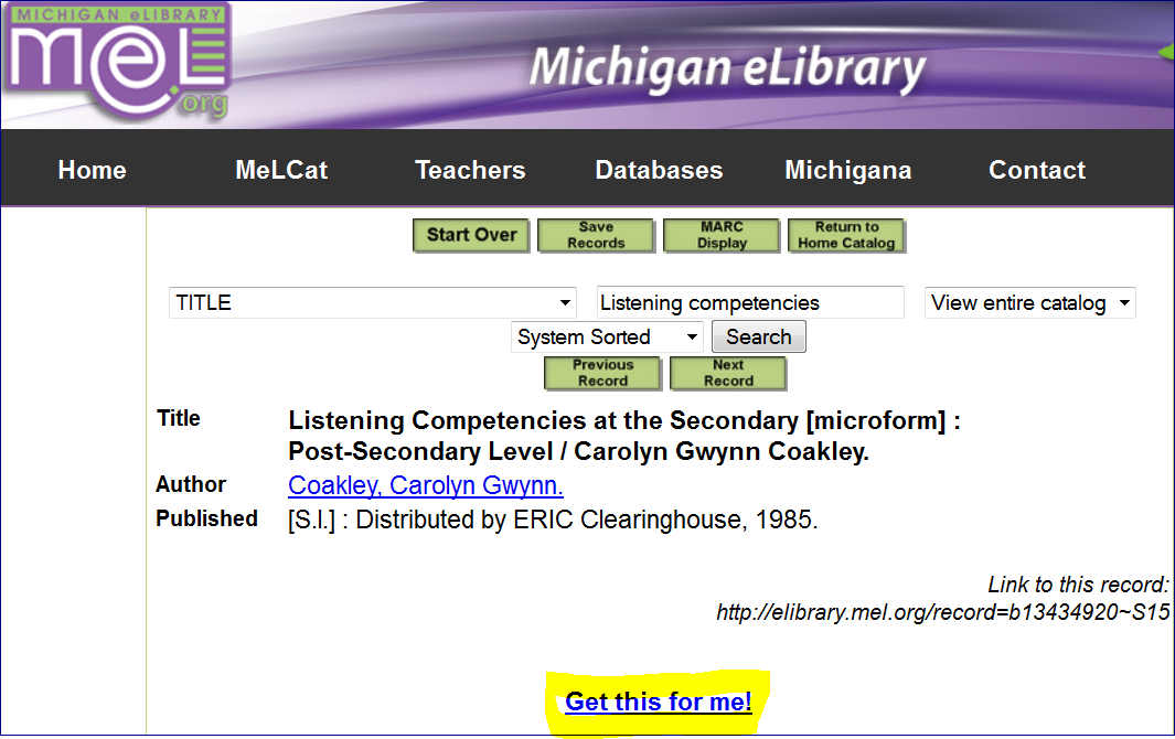 Michigan eLibrary highlighting the request button