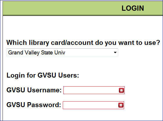 Using Grand Valley State University for the library card/account to be used