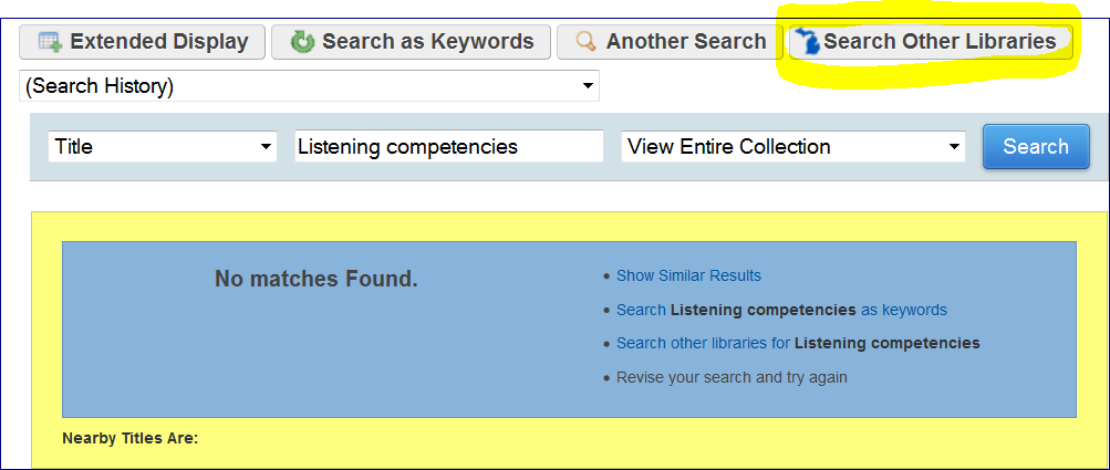 Library Catalog link to 'Search Other Libraries'